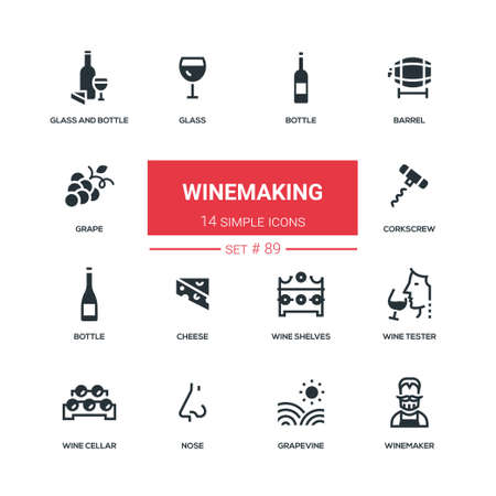Winemaking - flat design style icons set. High quality black solid pictograms. Bottle and glass, barrel, grape, corkscrew, cheese, wine shelves, tester, cellar, nose, grapevine, winemaker 스톡 콘텐츠 - 105443574