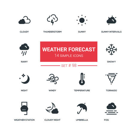 Weather forecast - flat design style icons set. High quality black solid pictograms. Sunny, rainy, cloudy, thunderstorm, snowy, night, windy, temperature, tornado, weather station, umbrella, fog Ilustração