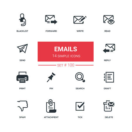 Emails - flat design style icons set. High quality black solid pictograms on white background. Write, read, send, blacklist, forward, reply, print, pin, search, draft, spam, attachment, tick, delete