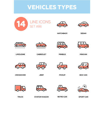 Vehicle types - line design icons set
