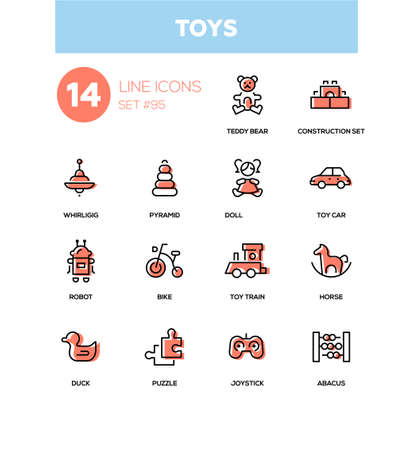 Toys - modern line design icons set. High quality pictograms on white background. Teddy bear, construction set, whirligig, pyramid, doll, car, robot, bike, train, horse, duck, puzzle, joystick, abacus