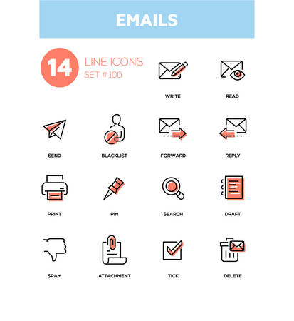 Emails - modern line design icons set Çizim