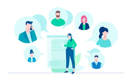 Online meeting - flat design style illustration on white background. A young female worker with a smartphone chatting with her colleagues, partners. Perfect for your website and mobile apps Stock Illustratie