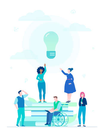Bright idea - flat design style illustration on white background. A composition with international business team, books, big lightbulb. Disabled person working with a laptop. Inspiration concept