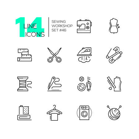 Laboratorio di cucito - set di icone di stile di design di linea, pittogrammi su sfondo bianco. Macchina, manichino, forbici, metro a nastro, ferro da stiro, spilla da balia, bobina, ago e filo, bottoni e zip, bugna, appendiabiti Vettoriali