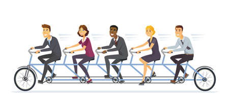 Business team - modern cartoon characters illustration on white background. Metaphorical composition with international businesspeople, office workers or businessmen working hard, riding a bicycle