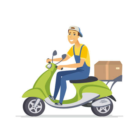 Delivery man - cartoon people characters isolated illustration on white background. An image of a cute cheerful boy wearing a cap with a box riding a green scooter. Service concept
