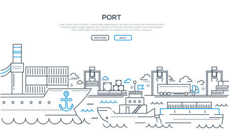 Port - modern line design style illustration with place for your text. A banner with a harbor, ships and boats on water, shipping on the background. Travelling, transportation concept