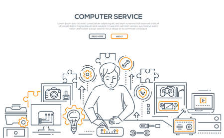 Computer service - line design style illustration on white background and place for your text. Banner with a worker repairing a chip. Images of different tools and gadgets to fix. Puzzles and gears Stock Illustration - 105477829