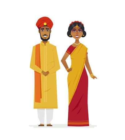 Glückliches indisches Paar - Karikaturmenschen isolierte Illustration auf weißem Hintergrund. Lächelnder Mann und Frau, die zusammen stehen und traditionelle gelbe und rote Kleidung, Sari, Turban tragen
