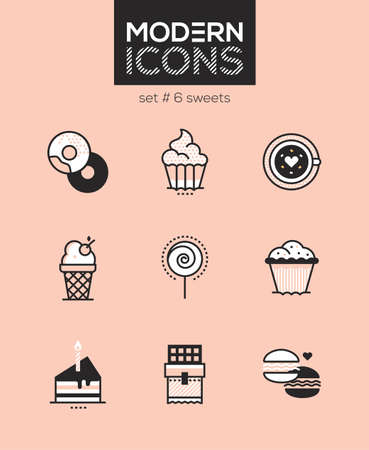 Sweets - set of line design style icons isolated on pink background. High quality images for a cafe, restaurant, shop. Donuts, cupcake, coffee, ice cream, lollipop, muffin, cake, chocolate, macarons Stock Photo