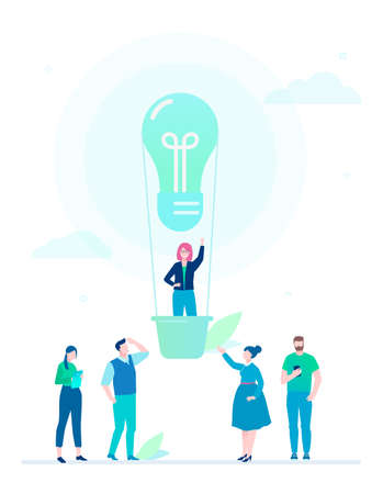Business idea - flat design style colorful illustration on white background. A composition with cute characters, businesswoman flying on a hot air balloon in a form of a bulb. Inspiration theme