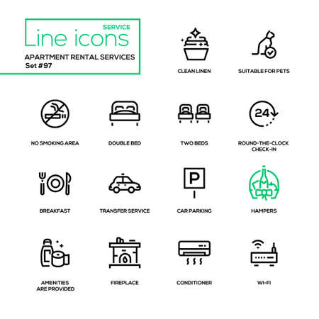 Apartment rental service - line design icons set. Clean linen, suitable for pets, no smoking area, double bed, round-the-clock check-in, breakfast, transfer, car parking, conditioner, wi-fi, fireplace