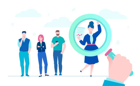 Search for candidate - flat design style illustration on white background. A colorful composition with young people looking for a job, magnifying glass picking a female employee. Recruitment concept