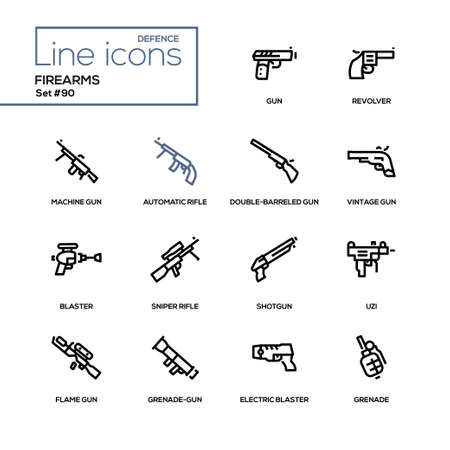 Firearms - modern line design icons set. High quality black pictograms on white background. Revolver, automatic, flame and sniper rifle, double-barreled gun, electric blaster, shotgun, Uzi, grenade Stock Vector - 105509265