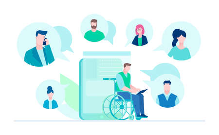 Business chat - flat design style illustration on white background. A disabled worker sitting in a wheelchair with a laptop texting to his colleagues, partners. Perfect for your website, mobile apps