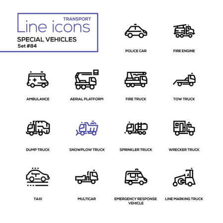 Special vehicles - line design icons set. Police car, fire engine, ambulance, aerial platform, tow, snowplow, sprinkler, wrecker, dump, line marking truck, taxi, multicar, emergency response