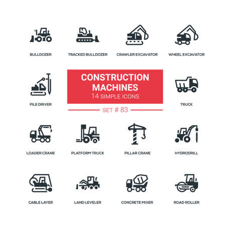 Construction machines - flat design style icons set. Crawler, wheel excavator, pile driver, tracked bulldozer, truck, loader, pillar crane, hydrodrill, cable layer, land leveler, concrete mixer