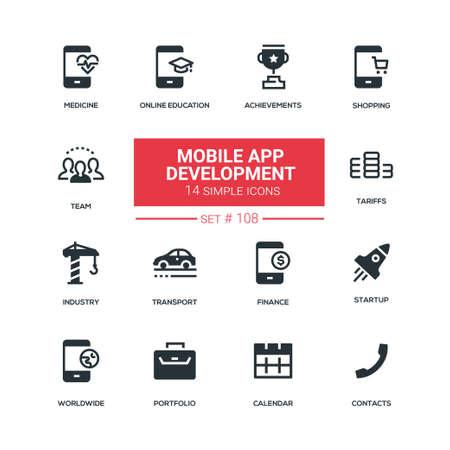 Mobile app development - flat design style icons set. Achievement, tariffs, startup, medicine, online education, shopping, industry, transport, finance, team, worldwide, portfolio, calendar, contacts