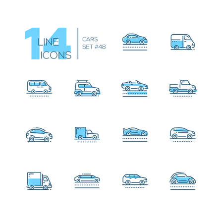 Cars - set of line design style blue icons, pictograms on white background. Sedan, minivan, minibus, cabriolet, box van, pickup, jeep, crossover, hatchback, sport, truck, wagon, limousine, retro