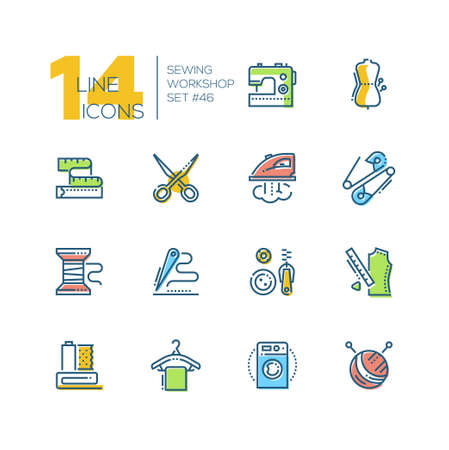 Sewing workshop - set of line design style colorful icons on white background. Machine, mannequin, scissors, tape measure, iron, safety pin, bobbin, needle and thread, buttons and zip, clew, hanger Illusztráció