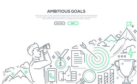 Ambitious goals - line design style illustration
