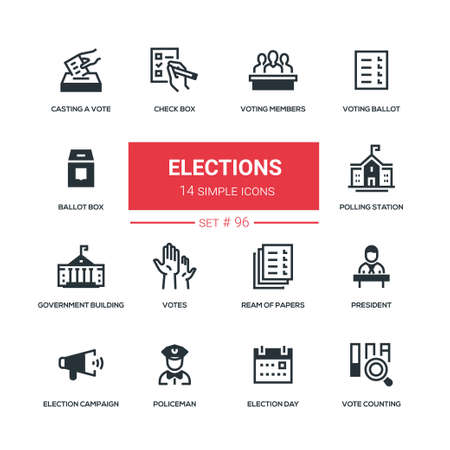 Elections - flat design style icons set