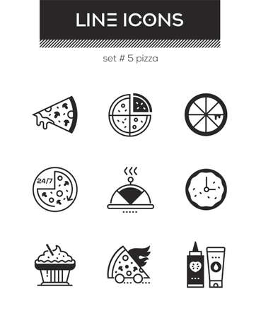 Pizza - set of line design style icons isolated on white background. High quality images for a cafe, online shop. Slice, preparation time, cupcake, sauces, serving dish. Perfect for mobile apps