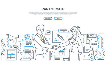 Partnership - modern line design style illustration on white background with place for your text. Two young businessmen shaking hands, making an agreement, signing a contract. Cooperation concept Çizim