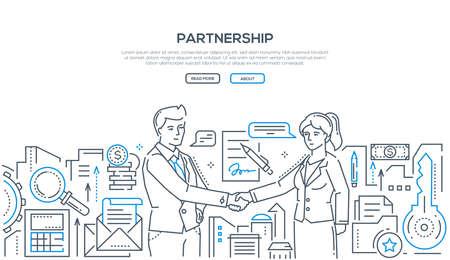 Partnerstwo - ilustracja styl nowoczesny design linii na białym tle z miejscem na Twój tekst. Dwóch młodych biznesmenów uścisk dłoni, zawarcie umowy, podpisanie kontraktu. Koncepcja współpracy