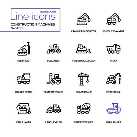 Construction machines - line design icons set. Crawler, wheel excavator, pile driver, tracked bulldozer, platform truck, loader and pillar crane, hydrodrill, cable layer, land leveler, concrete mixer