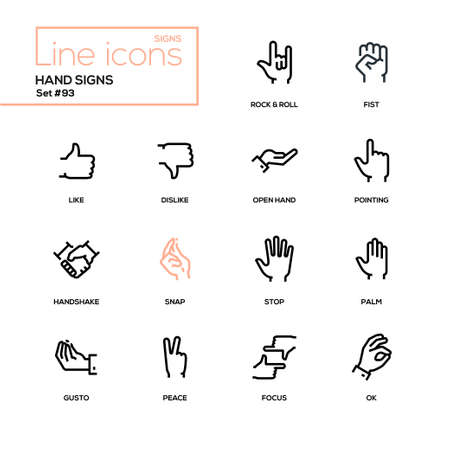 Hand signs - modern line design icons set. High quality pictograms on white background. Rock and roll, fist, like, dislike, open, pointing, handshake, snap, stop, palm, gusto, peace, focus, ok