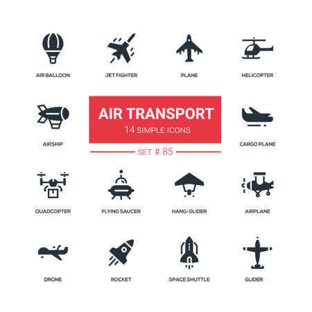 Air transport - flat design style icons set