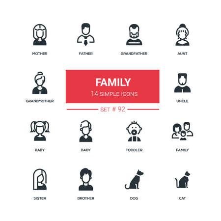 Family - flat design style icons set