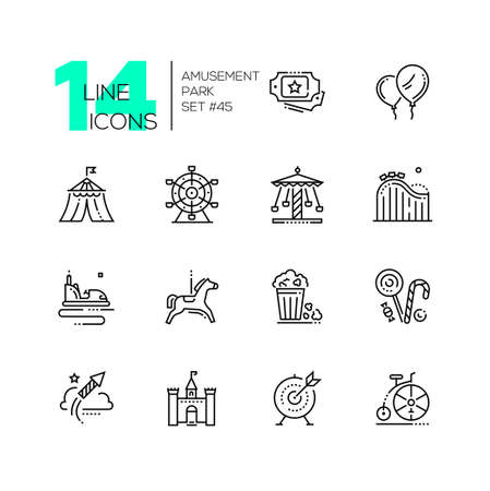 Amusement park - set of line design style icons 일러스트