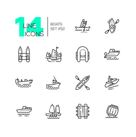 Bateaux - jeu d'icônes de conception de ligne mince moderne. Canot, kayak des Aléoutiennes, catamaran, pneumatique, jonque, moteur, achigan, gig boat, walkaround, motomarine, radeau, baril. Pictogrammes noirs de haute qualité