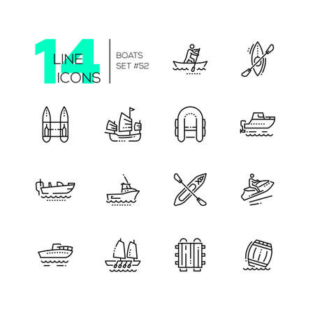 Boats - modern thin line design icons set. Canoe, aleutian kayak, catamaran, inflatable, junk, motor, bass, gig boat, walkaround, personal watercraft, raft, barrel. High quality black pictograms