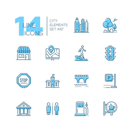 City elements - set of line design style blue icons