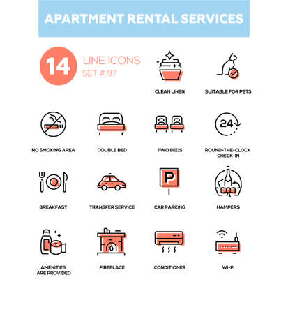 Apartment rental service - line design icons set