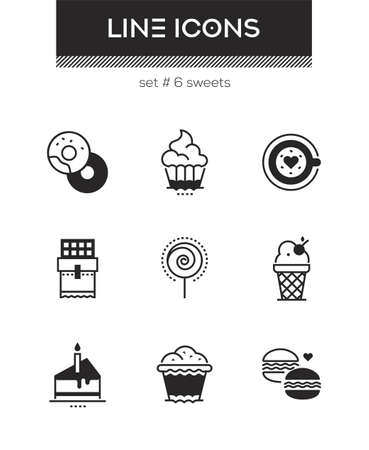 Sweets - set of line design style icons isolated on white background. High quality images for a cafe, restaurant, shop. Donuts, cupcake, coffee, ice cream, lollipop, muffin, cake, chocolate, macarons