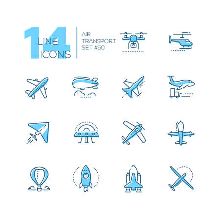 Air transport - thin line design icons set. Blue pictograms. Plane, helicopter, airship, balloon, jet fighter, cargo, quadcopter, flying saucer, hang glider, drone, rocket, space shuttle, airplane 向量圖像
