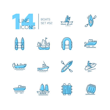 Boats - modern thin line design icons set. Canoe, aleutian kayak, catamaran, inflatable, junk, motor, bass, gig boat, walkaround, personal watercraft, raft, barrel. High quality black pictograms