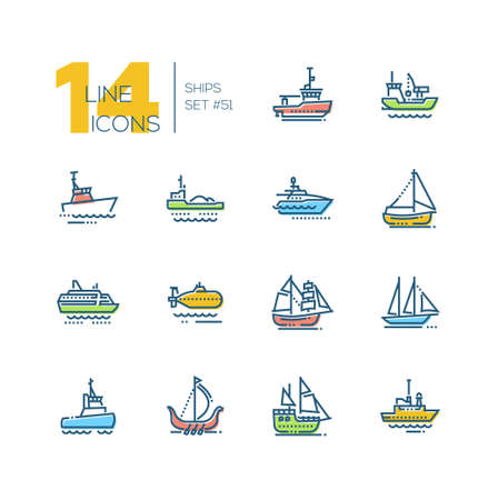 Water transport - colorful line design icons set. Tugboat, dredging vessel, yacht, self-propelled barge, patrol boat, ferry, submarine, brigantine, schooner, drakkar, pirate, survey, military ship Illustration