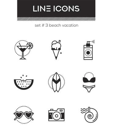 Beach vacation - set of line design style icons isolated on white background. Cocktail, ice cream, spray, watermelon, swimsuit, sunglasses, camera, surfboard and seashell. High quality collection