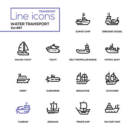 Water transport - line design icons set. Tugboat, dredging vessel, sailing yacht, self-propelled barge, patrol boat, ferry, submarine, brigantine, schooner, drakkar, pirate, survey and military ship  イラスト・ベクター素材