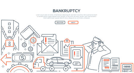 Bankruptcy - modern line design style illustration on white background with place for your text. Banner with a businessman having negative balance, falling diagrams, office locked, warning mails