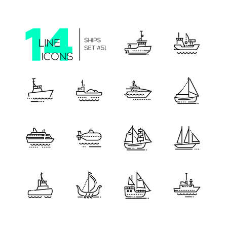 Water transport - thin line design icons set. Tugboat, dredging vessel, sailing yacht, self-propelled barge, patrol boat, ferry, submarine, brigantine, schooner, drakkar, pirate, survey, military ship