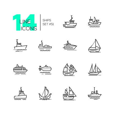 Vervoer over water - dunne lijn ontwerpset pictogrammen. Sleepboot, baggerschip, zeiljacht, zelfvarend binnenschip, patrouilleboot, veerboot, onderzeeër, brigantijn, schoener, drakkar, piraat, survey, militair schip