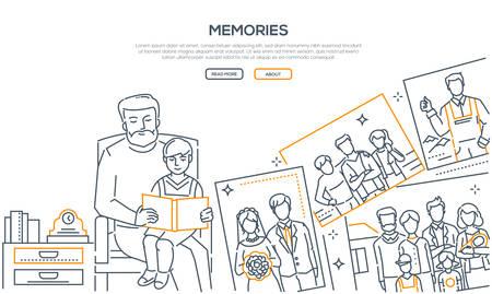 Erinnerungen - Liniendesign-Stil-Banner auf weißem Hintergrund mit Platz für Text. Hochwertige Komposition mit einem Großvater, der mit seinem Enkel sitzt und ihm ein Fotoalbum zeigt. Konzept der Familienwerte Vektorgrafik