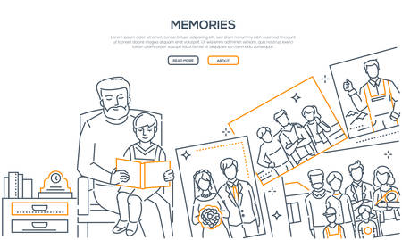 Memories - line design style banner on white background with place for text. High quality composition with a grandfather sitting with his grandson and showing him a photo album. Family values concept Иллюстрация